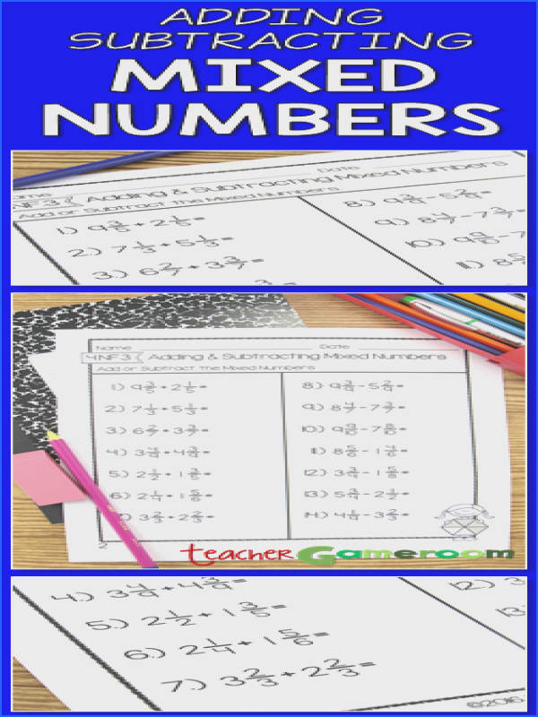Practice adding and subtracting mixed numbers Great fraction worksheet