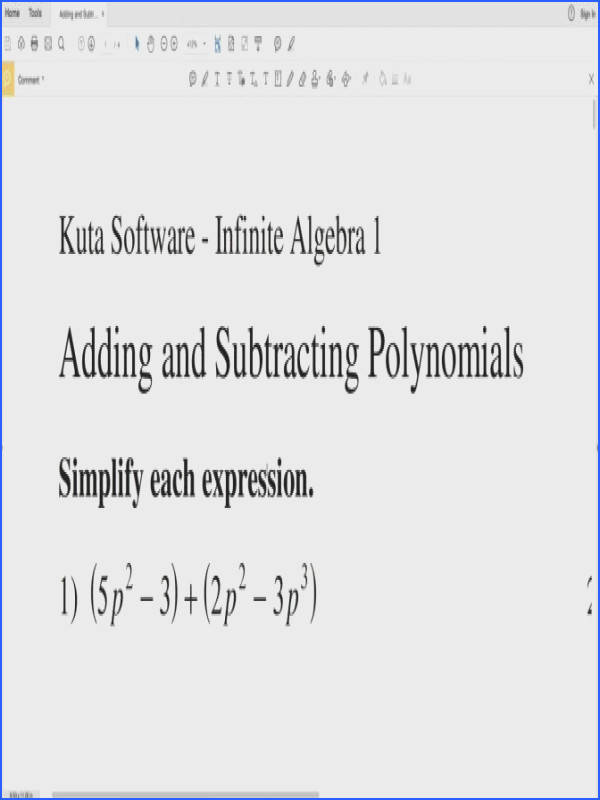 Adding And Subtracting Polynomials Worksheet Answers Algebra 1 Worksheets for all Download and Worksheets