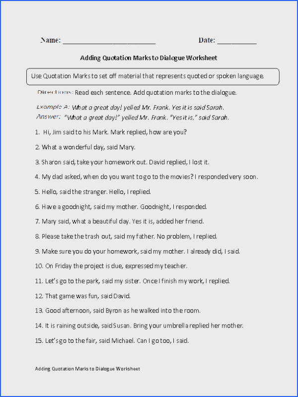 These Quotation Marks worksheets are great for working with Quotation Marks Use these Quotation Marks worksheets for the beginner and intermediate levels