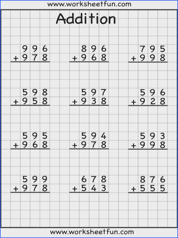 addition with regrouping worksheets I LOVE that they are on grid paper