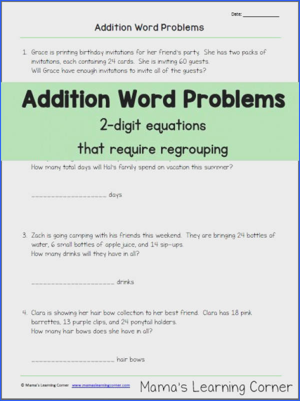 Addition Word Problems with Regrouping