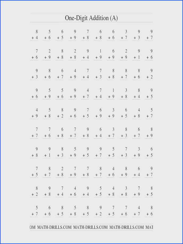 Addition Worksheet Single Digit Addition 100 Vertical Questions All Regrouping