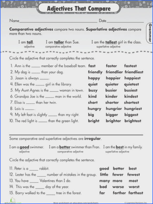 Worksheets Great Grammar Adjectives that pare