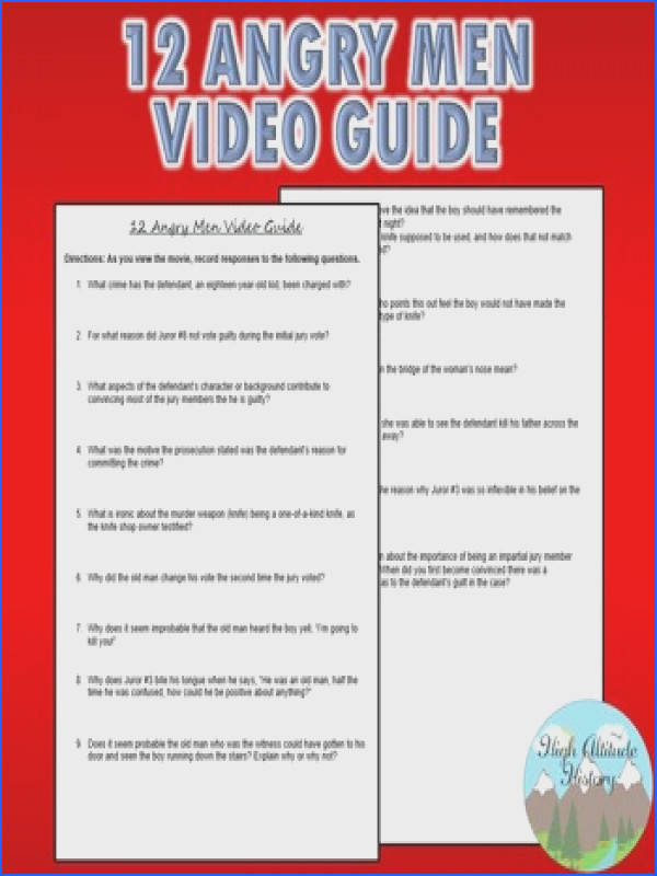 Twelve Angry Men 12 Angry Men Video Guide Original Questions