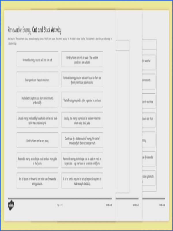 Advantages and Disadvantages of Renewable Energy Cut and Stick Worksheet Activity Sheet worksheet