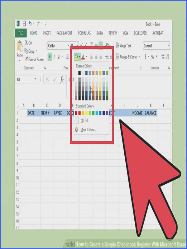 Image titled Create a Simple Checkbook Register With Microsoft Excel Step 4