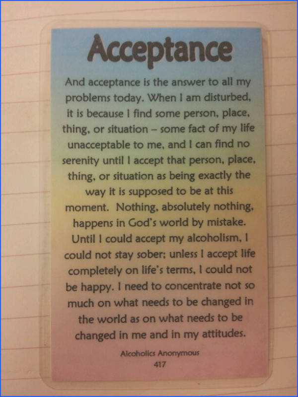 Alcoholics anonymous pg 417 of big book acceptance is the key to everything AA