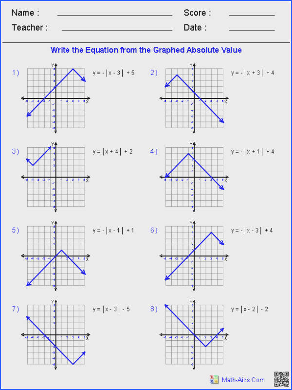 Linear Equations and Inequalities Worksheets