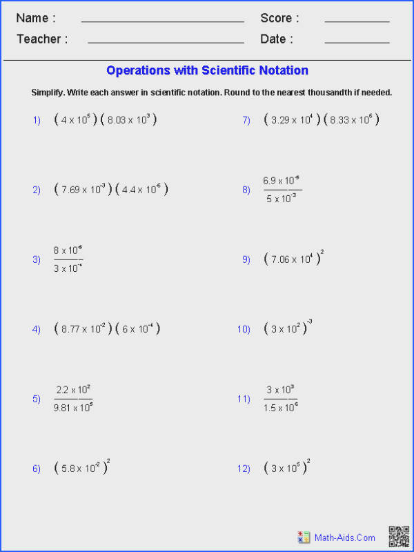 Operations with Scientific Notation Worksheets