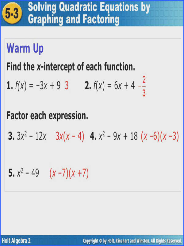 Ultimate Algebra 2 Chapter 5 Quadratic Equations And Functions Answers Also 5 3 Solving Quadratic