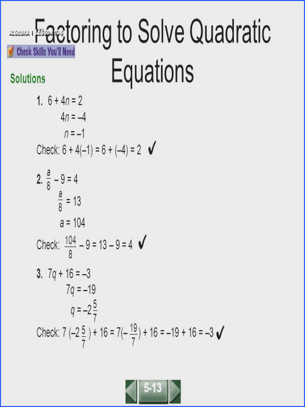 Cosy Algebra 2 Chapter 5 Quadratic Equations And Functions Answers For Your Factoring To Solve