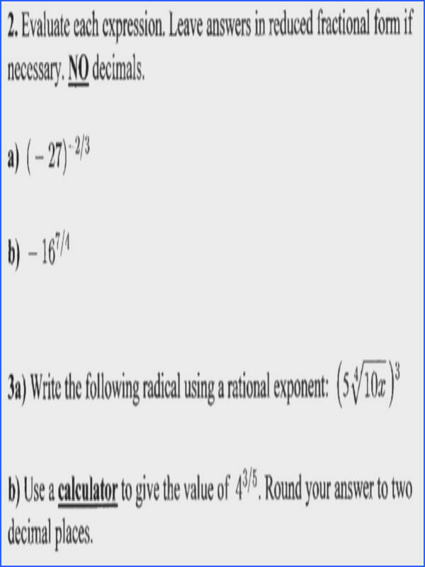 2 Evaluate each expression Leave answers in reduced fractional form if necessary NO