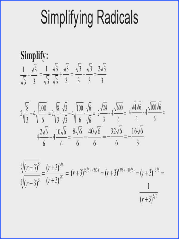 Formidable Algebra Calculator Simplifying Radical Expressions With Additional Simplifying Radical Expressions Rational Exponents Radical Equations