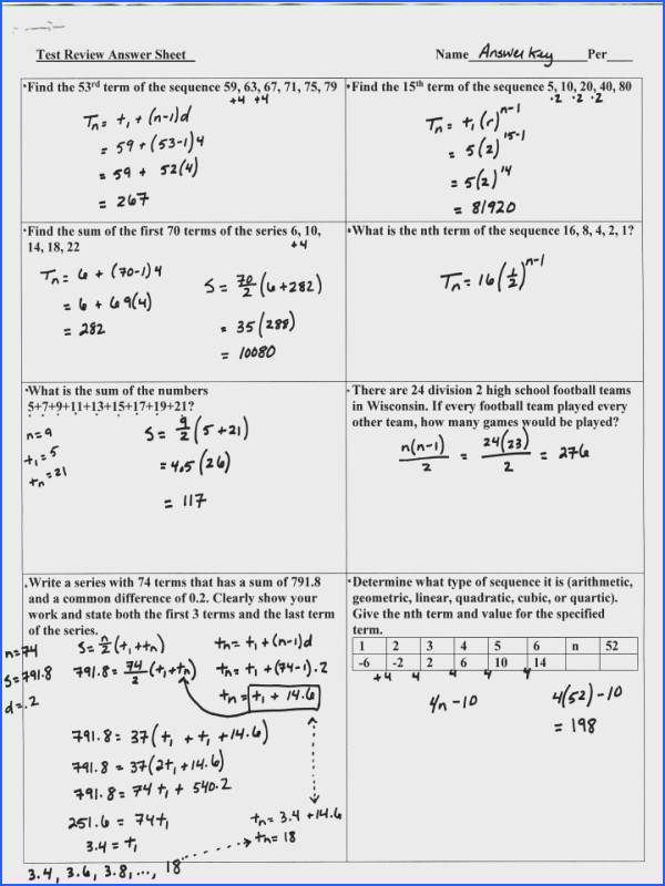 Math Worksheets Algebra Sequences And Series Review Page 1 Arithmetic Sequence Worksheet Free Educational Mathematic Lesson