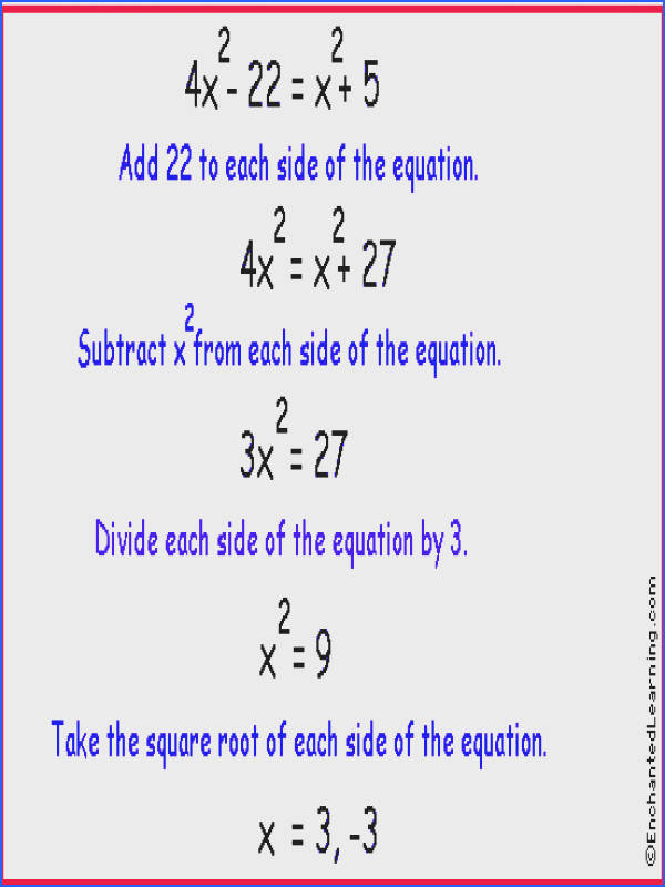 example Go to Printable Worksheets on Quadratic Equations