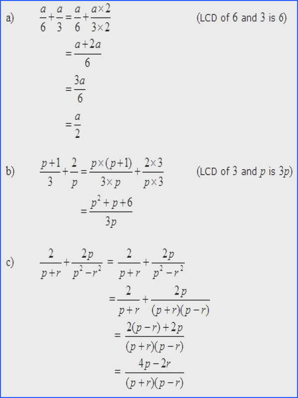 Remarkable Algebraic Expression In Addition For Adding Rational Expressions Worked Solutions Examples Videos of Algebraic