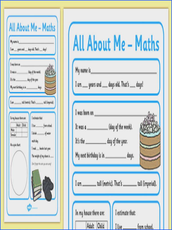 All About Me Maths Display Poster Worksheet Year 5 6 all about me