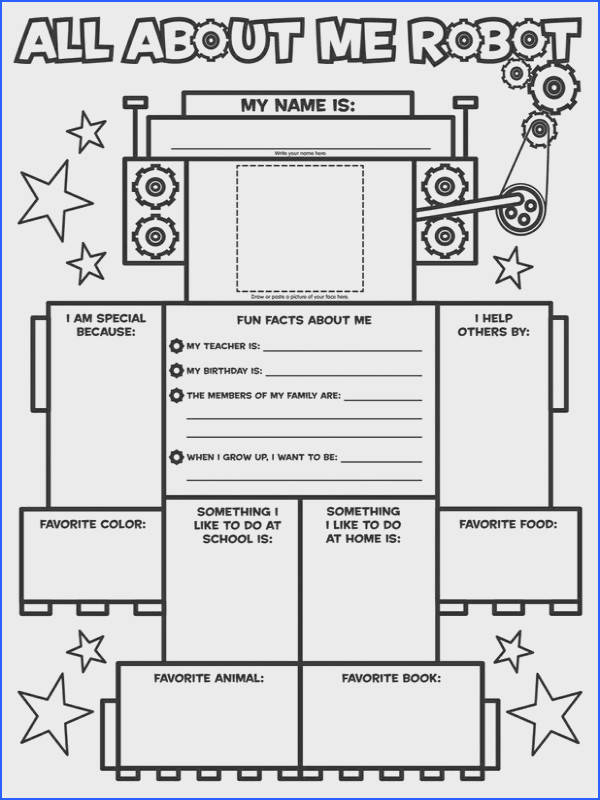 Graphic Organizer Posters All About Me Robot Grades K 2