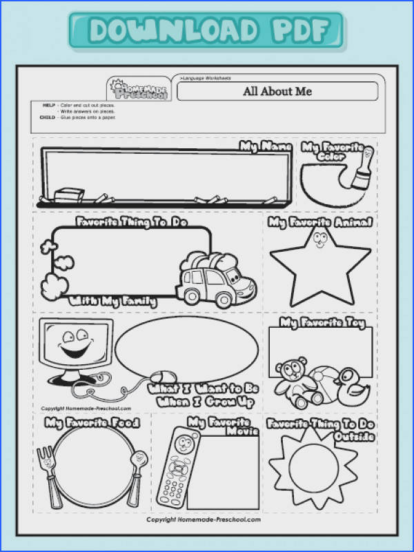 All About Me worksheet cute
