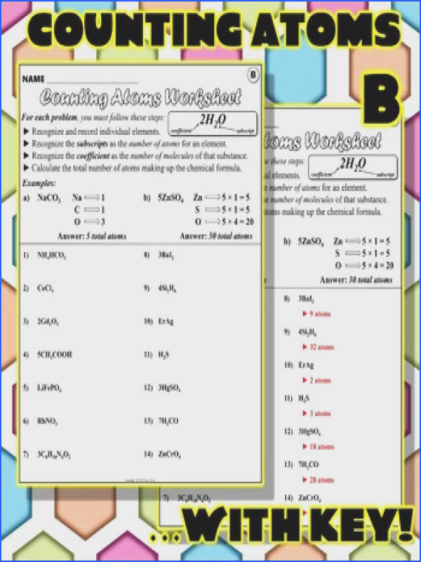 All Worksheets chemistry counting atoms in pounds worksheet 7 0 1 answers Counting Atoms Worksheet Answers