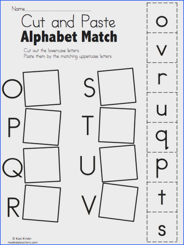 Alphabet Match O to V – Free Worksheet Cut and paste the matching uppercase and lowercase letters More Alphabet Match Worksheets Alphabet Match I to P