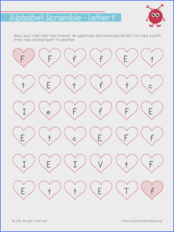 Alphabet Scramble The Letter F With this letter F worksheet kindergarten kids practice reading