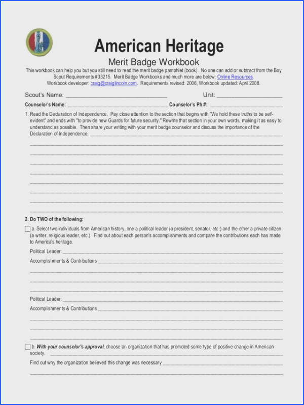American Heritage Merit Badge Worksheet Worksheets for all Download and Worksheets