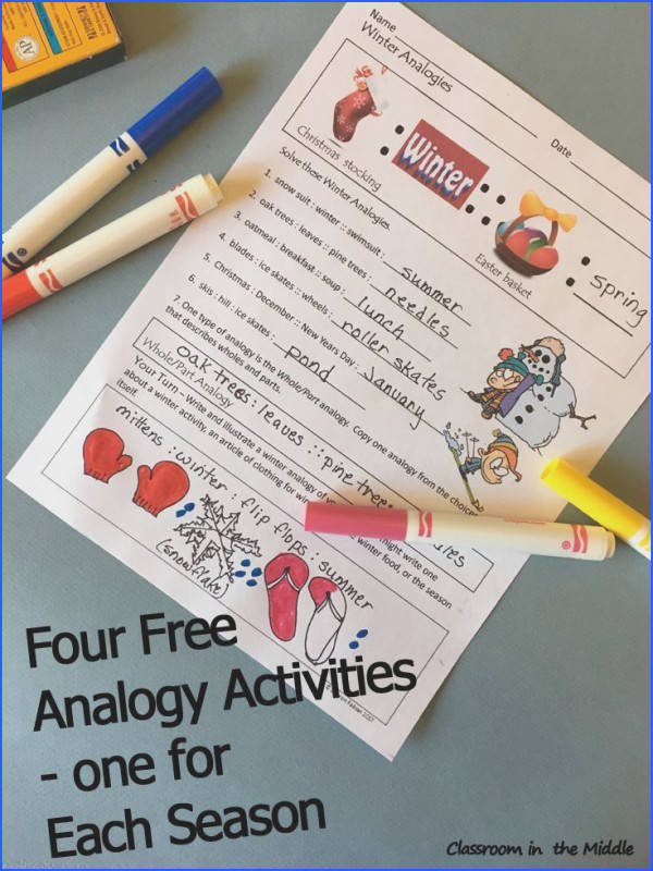 Analogies by the Season Four FREE activity sheets one for each season Great