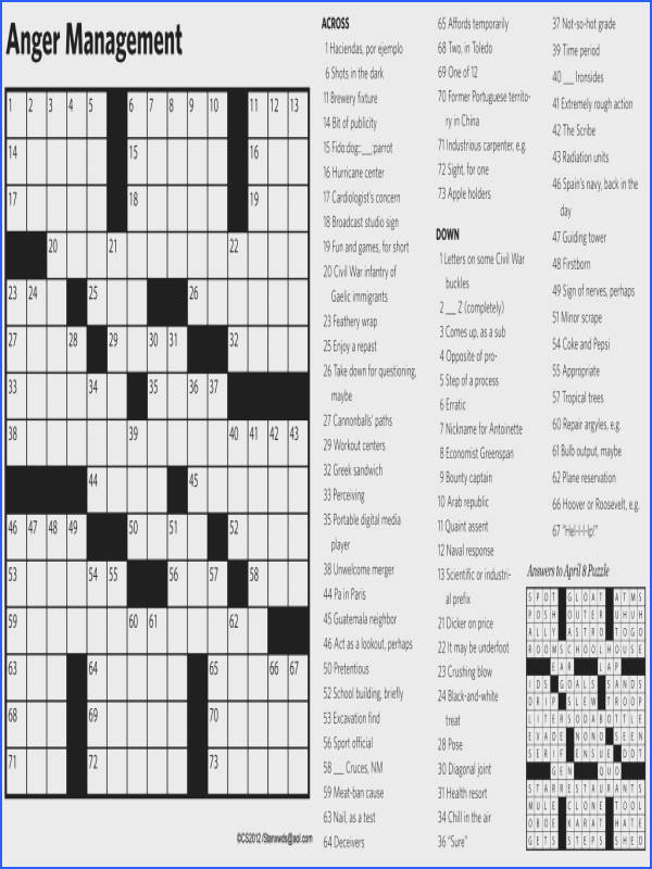 Anger Management Crossword Puzzles Worksheets for all Download and Worksheets