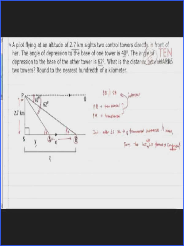 Angle of Elevation Angle of Depression Problems