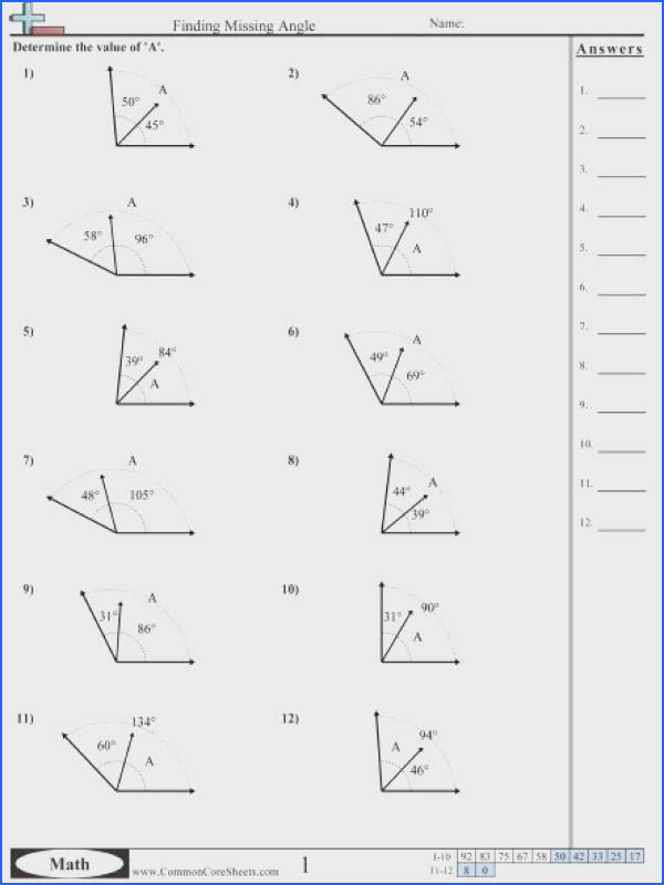 Finding The Missing Angle Worksheet Worksheets For All Download