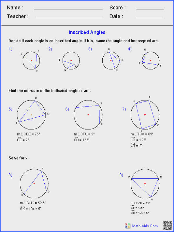 Angles In A Circle Worksheet