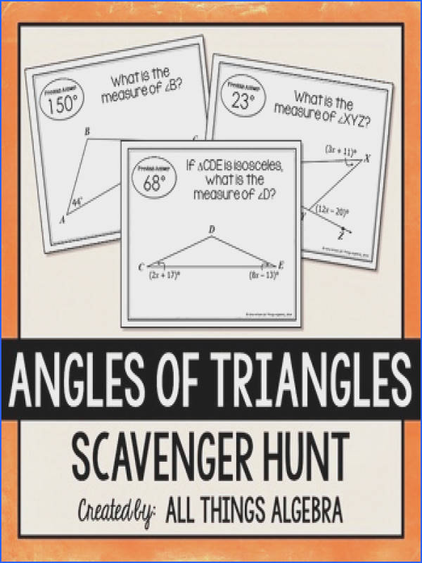 Angles of Triangles Scavenger Hunt Includes Equilateral & Isosceles Triangles