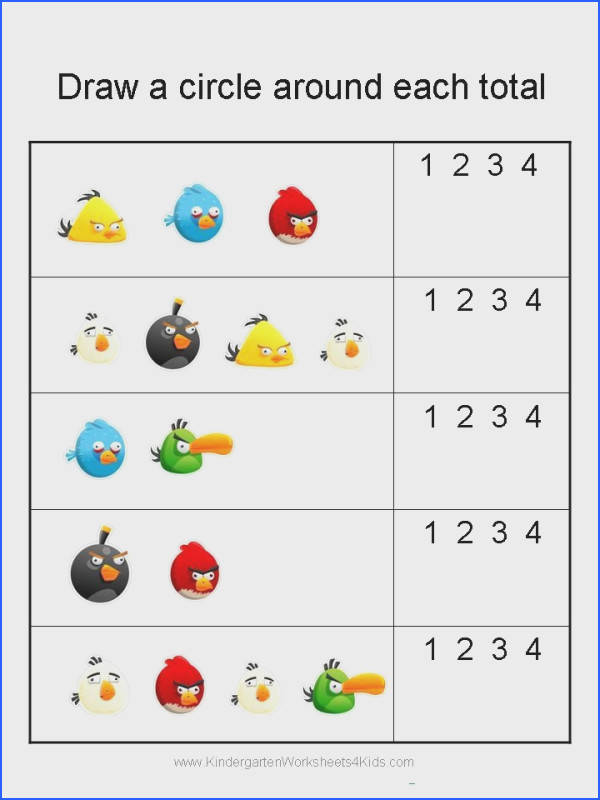 Angry Birds Math Worksheets for Kindergarten