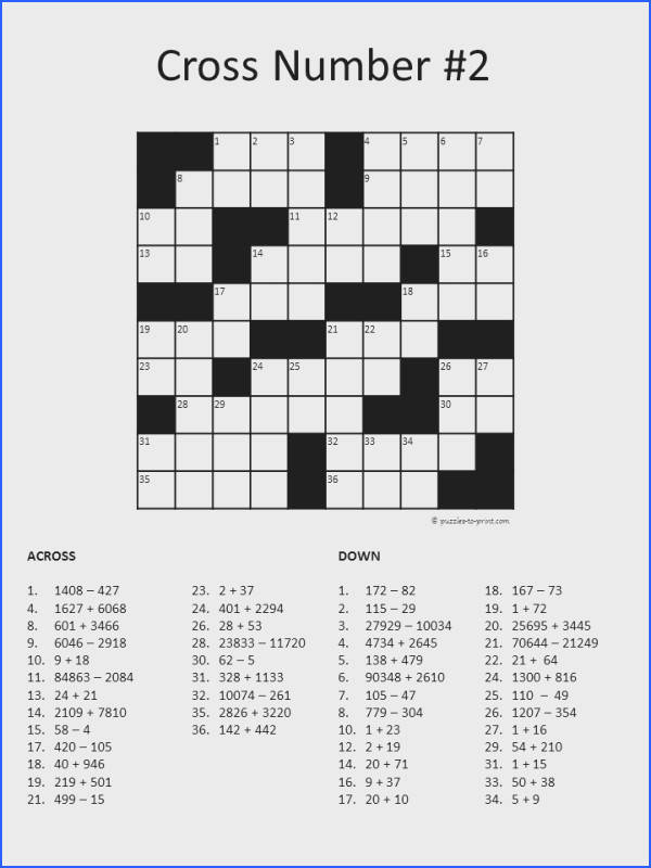 Another brain stimulating math puzzle from Puzzles to Print number crossword puzzle using addition and subtraction