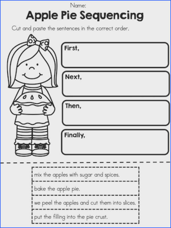 Apple Pie Sequencing Cut and paste sentences in order Part of the