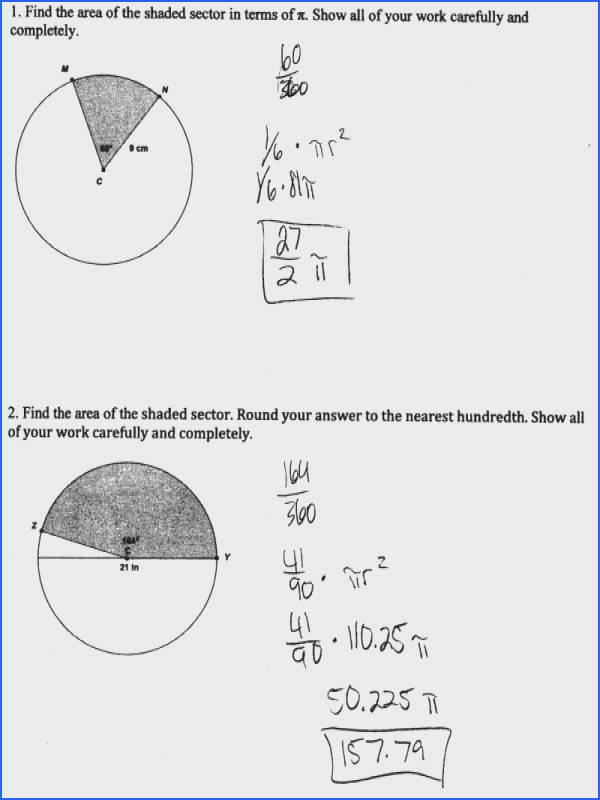 Arc Length And Area A Sector Worksheet · Sector Area Students Are Asked To Find The