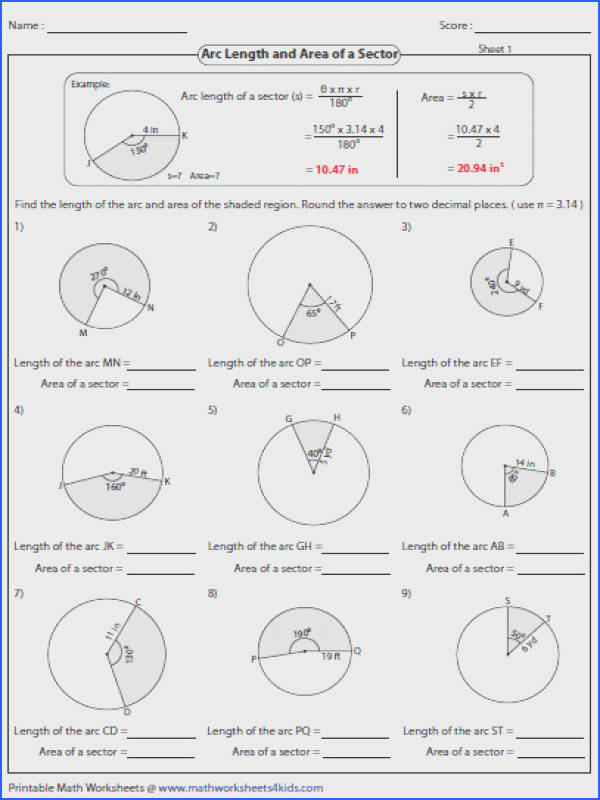 Arc Length and Sector area Worksheet Image Below Arc Length and Sector area Worksheet