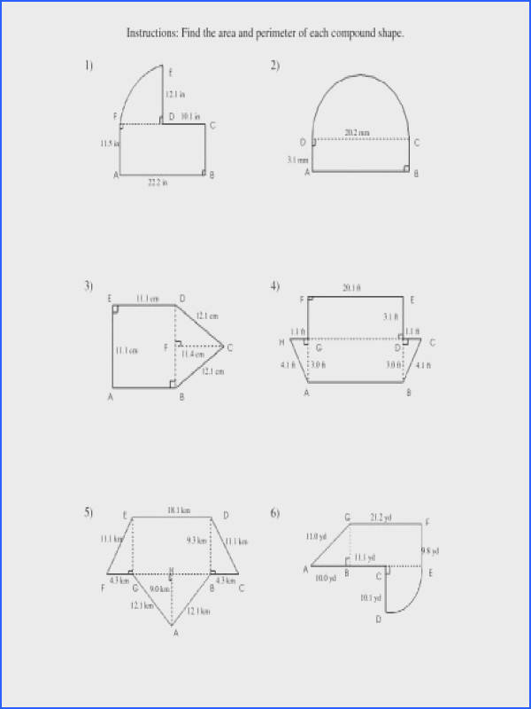 area and perimeter of pound shapes a math worksheets grade 7 pound 00 a part of under