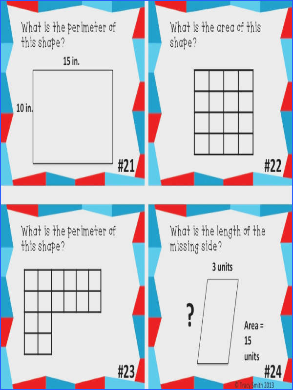 Area and Perimeter Task Cards Grades 2 4