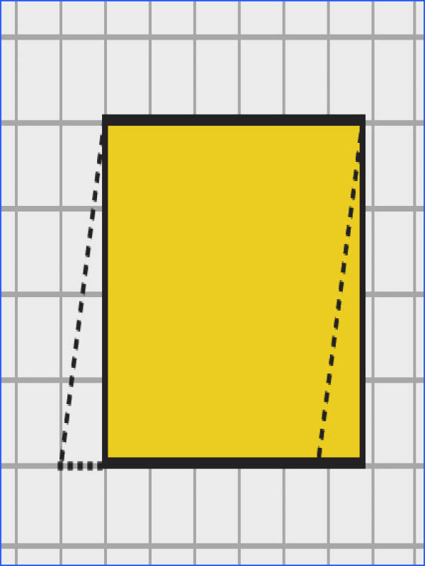 We draw a line from one vertex of the parallelogram in order to form a right triangle Then we move the triangle to the other side as shown Look