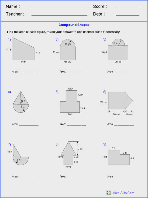 Area of pound Shapes Adding Regions Worksheets