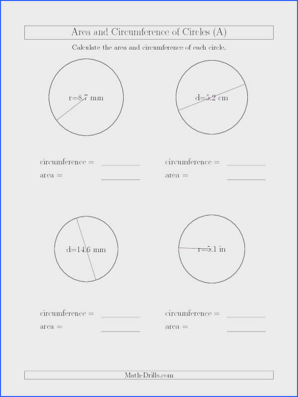 area of sector worksheet or circumference and area of circle worksheets finding using diameter stunning 76