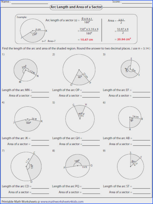 arc length and area of a sector worksheet geometry worksheet arc length sector area segment area