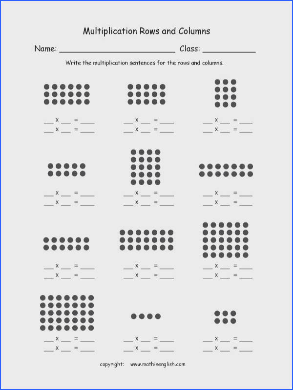 Basic multiplication worksheet with rows and columns of dots Student can count the total number and workout basic multiplication as a result of repeated