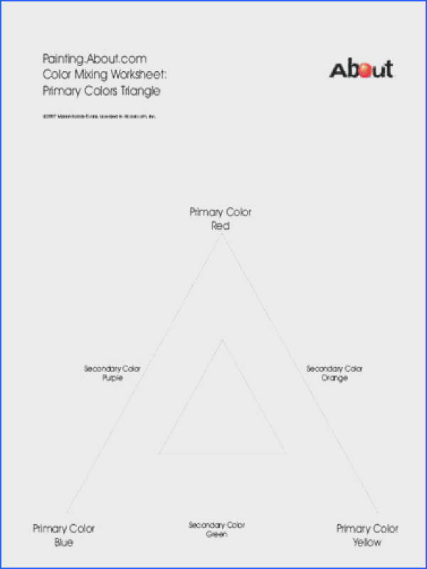 Art Worksheets Color Theory Lesson Primary and Secondary Colors Triangle