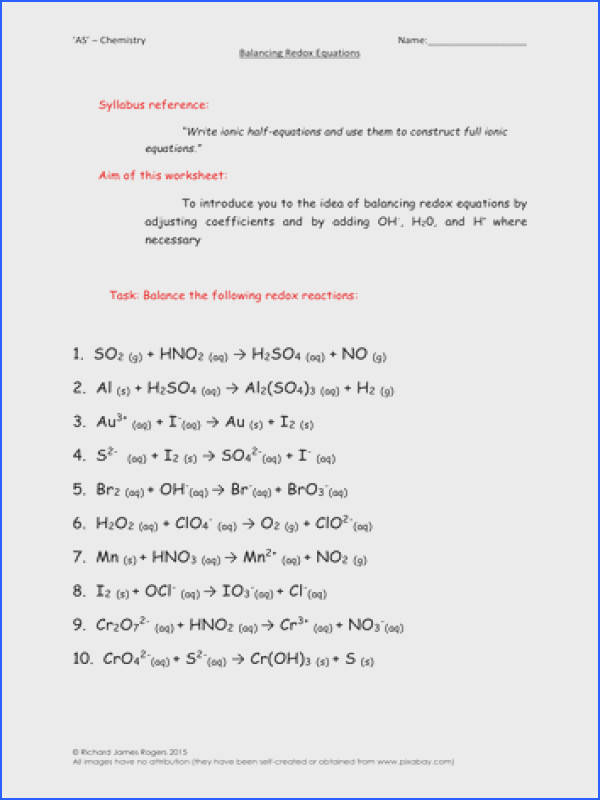 AS Chemistry Balancing Redox Equations Worksheet With Answers by richardrogersscience Teaching Resources Tes