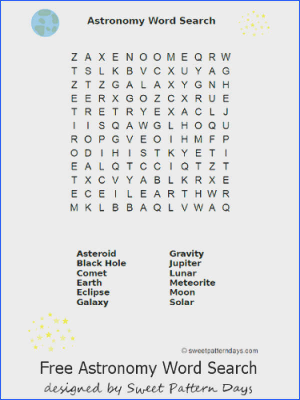Astronomy Word Search Printable