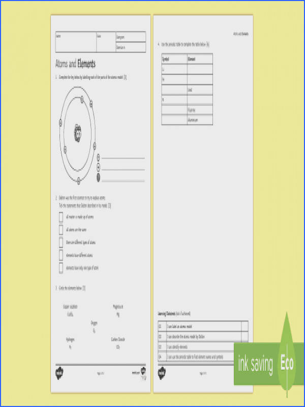 Atoms and Elements Homework Activity Sheet