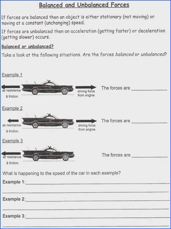 "Balanced and Unbalanced forces Worksheet & Unbalanced forces""""sc Image Below Balanced and Unbalanced forces Worksheet"